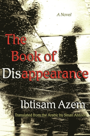 Cover of The Book of Disappearance. Title appears over a wet sidewalk after ran and the shadow of a person walking is visiible.